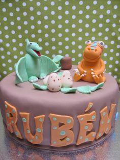 Tarta fondant, dinosaurios, cake dinos