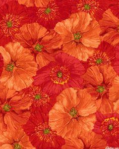 Poppy Garden Poppy Collage Endless Petals Cotton Quilting Fabric 1/2 YARD