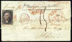 "United States Postmaster's Provisionals New York, NY 1845 5c black on bluish, margins all around, tied by red ""Paid"" cancel on outer folded letter to Paris, forwarded under cover from Mexico, price realized: $2,500"