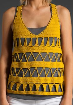 Crochetemoda: Crochet - Yellow Top