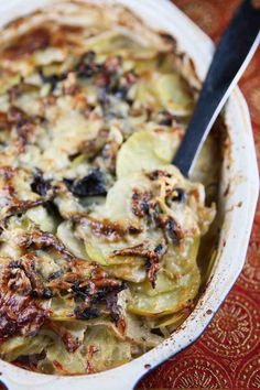 This lightened up version of Potato Turnip Mushroom Gratin is perfect for the Holiday Season!
