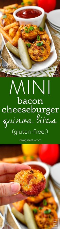 Mini Bacon Cheeseburger Quinoa Bites are bite-sized, gluten-free bacon cheeseburgers perfect for little hands and big appetites! | iowagirleats.com