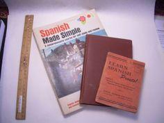 3 bks SPANISH LANGUAGE Self STUDY Correspondence Travel + Phrases Simple Course
