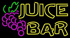 Double Stroke Juice Bar With Grapes Neon Sign 20 Tall x 37 Wide x 3 Deep, is 100% Handcrafted with Real Glass Tube Neon Sign. !!! Made in USA !!!  Colors on the sign are Yellow, Pink, White and Green. Double Stroke Juice Bar With Grapes Neon Sign is high impact, eye catching, real glass tube neon sign. This characteristic glow can attract customers like nothing else, virtually burning your identity into the minds of potential and future customers.