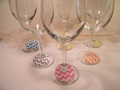 Wine Glass Charms, Chevron Stripe Paper Labels, Party Supplies, Disposable, Entertaining, Bridal Showers, Bachelorette Party Tags, Original