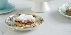 Coconut Jam Slice via @iquitsugar