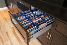 DVD/Media Storage Cupboards, Cabinets, Drawers. Great way to conceal and hide cluttered looking media in your sitting room areas for a modern and tidy look!