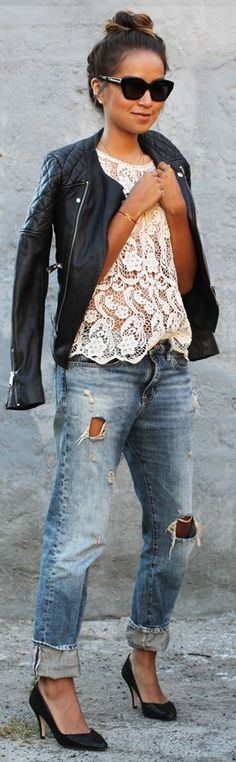 White lace Top, Distressed Boyfriend and Biker Jacket. Those jeans with the heels!!!