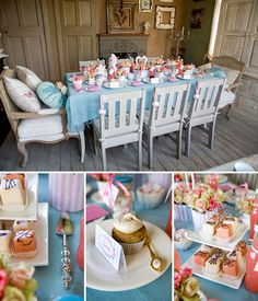 though this is a Tea party bridal shower change the hearts to flowers/eggs/bunnies and you have Easter...or put lovely white and pink orchids for anytime...love the floorboards too!!! Tea part bridal shower, kind of diggin it!