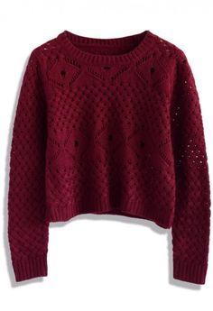 Open Knit Cropped Sweater in Wine