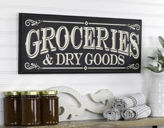 large pantry ideas Evoke the by gone era of general stores with this farmhouse vintage style Groceries and Dry Goods wood sign. A great addition to the kitchen or pantry, perfect di Vintage Farmhouse, Farmhouse Style, Farmhouse Signs, Farmhouse Ideas, Modern Farmhouse, Farmhouse Decor, Pantry Sign, Butler Pantry, Dry Goods