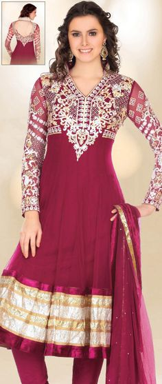 Dark Magenta Net Anarkali Churidar Kameez @ $125.87