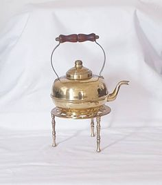 Excited to share this item from my #etsy shop: Vintage Brass Kettle With Stand Ornaments, Vintage Collectable Brass Homeware, Ornament Vintage Gifts, 1950s Brass Kettle.