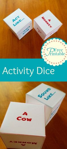 Activity Dice Free Printable - Great for preschoolers and toddlers.