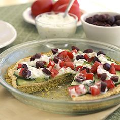 A falafel pie is an easier, healthier way to enjoy falafel flavors at home.
