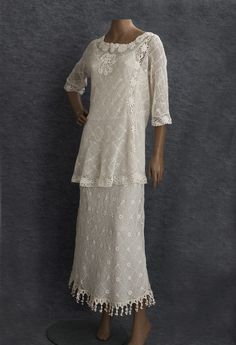 1930s Clothing at Vintage Textile: #2649 Irish crochet dress