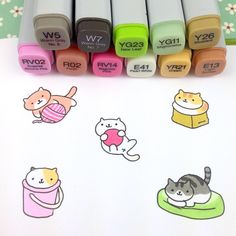 More kitties from my yard. I love this game, it's so kawaii  #kawaii #cute #nyan #かわいい #可愛い #nekoatsume #kittycollector #neko #kitties #doodle #copicmarkers #snowball