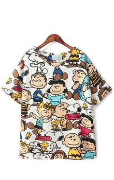 Cartoon Pattern Printing Short Sleeves O-neck T-shirt