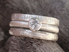 engagement ring set in sterling silver 4mm natural by preciousjd