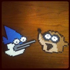 The Regular Show perler bead coasters by kiimberrr