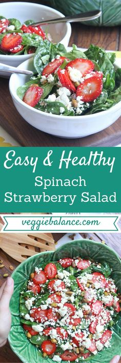 Spinach Strawberry Salad | Easy Healthy Salad to make for dinner /lunch. Spinach, Strawberry, feta cheese and pistachios with a homemade healthy balsamic vinaigrette. This is heaven.