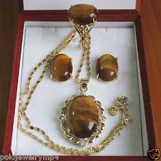 Jóias Anel de Pedra Olho de Tigre Brincos de Pingente Set> * banhado a ouro relógio de Quartzo por atacado pedra de cristal CZ