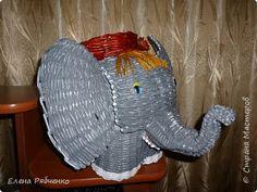 Поделка изделие Плетение Веселый жираф и слоненок из газет Трубочки бумажные фото 4