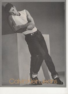 1985 Calvin Klein Jeans Advertisement 80s Mens Fashion Casual 80s Style Male Model  Bedroom Dressing Room Boutique Wall Art Decor