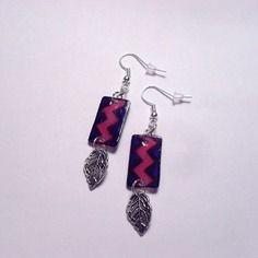 Boucles d'oreilles zigzag, bleu foncé, rose - 131