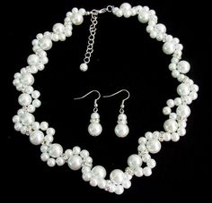 White Pearl Necklace Glass Pearl Necklace Earrings Bridesmaid Jewelry Flower Girl Maid Of Honor Bracelet Free Shipping In US