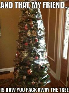 Saran wrap plastic wrapped around decorated Christmas Tree, and that my friend is how you pack away the Christmas Tree,   Very tempting to try this!!