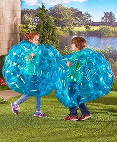 Get ready for fun with this Set of 2 Bumper Balls. Enjoy inventing fun-filled games to play with a buddy or family member, each in your own jumbo blue ball. #bumperball #toys