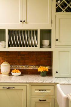 Built-in kitchen plate rack under cabinet between the door and window?