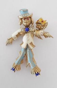 Small-Vintage-Gold-Tone-Signed-CINER-Enamel-Rhinestone-Scarecrow-Brooch-Pin