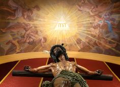 """""""For God so loved the world that he gave his only Son, so that everyone who believes in him might not perish but might have eternal life."""" John 3:16 // The Holy Name of God: Yahweh (I am) // ceiling / work of art by © Raúl Berzosa // Oratorio de la Hermandad de las Penas, Málaga, España"""