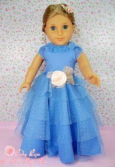 """** RUBY ROSE ** Fancy Blue Lace Party Dress & Satin Rose Hairpin ~ Fits 18"""" American Girl Dolls"""