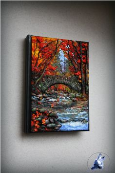 Polymer clay cover, notebook/ journal cover Autumn by the stream