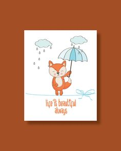 Fox Nursery Art Print Baby Fox Life is by HappyLittleBeans