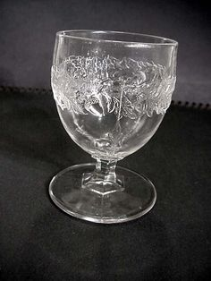 EAPG Pattern Glass Eggcup Panelled Acorn Band 3.5 inches tall.
