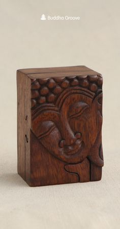Handmade Wooden Buddha Puzzle Box.  Opens up piece by piece!