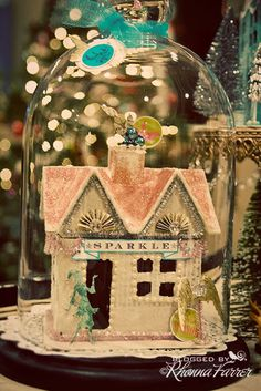 Cloche - over a Little Christmas House - Rhonna Farrer Noel Christmas, Christmas Paper, Little Christmas, Winter Christmas, All Things Christmas, Vintage Christmas, Christmas Ornaments, Christmas Glitter, Love Vintage
