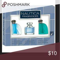 Men *Nautica Fragrances Gift Set-Brand New Nautical Blue spray 0.5 FL @ 15 ML, Nautica Voyage spray 0.5 FL @ OZ  @ 15 ML, Nautica Classic spray 0.5 FL OZ @ 15 ML.Box was never open.*Authentic* Other