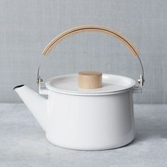 Enamel Tea Pot, White