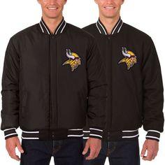 fa0e5c0e9 Minnesota Vikings JH Design Wool Reversible Jacket with Embroidered Logos -  Black -  169.99