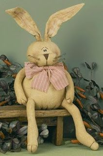 primitive easter decor   ... of Honey and Me Easter Bunny Dolls and Primitive Easter Decor