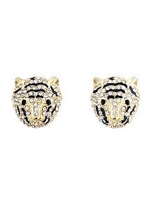 Rhinestone Panther Earrings dots.com