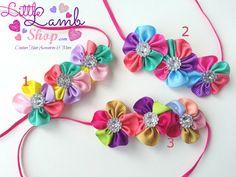 Rainbow Flower Kids Baby headband Hair band by littlelambshop