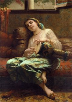 """""""Algerian Woman Playing a Darbouka""""  by Charles Landelle (1887)"""