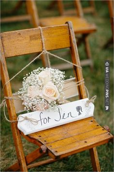 A remembrance chair at wedding - leave an empty seat in honour of your loved one <3 www.gracetheday.com