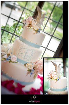 white wedding cake with light blue and bird accents.    borterwagner photography    borterwagner.com
